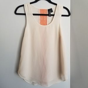 Cream and orange tank top small blouse lace
